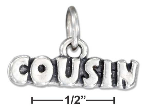 "Sterling Silver Antiqued ""Cousin"" Charm 
