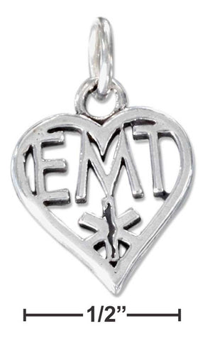 "Sterling Silver Heart Emergency Medical Technician ""Emt"" Charm 