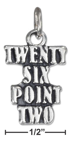 "Sterling Silver Antiqued Marathon ""Twenty Six Point Two"" Charm 