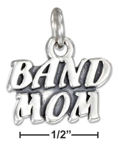"Sterling Silver Antiqued ""Band Mom"" Charm 