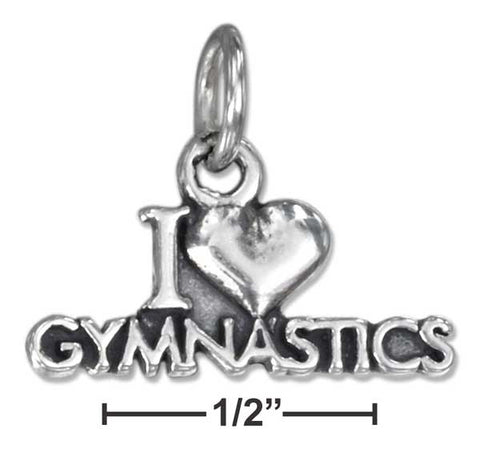 "Sterling Silver Antiqued ""I Heart Gymnastics"" Charm 