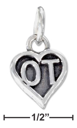 "Sterling Silver Heart Occupational Therapist ""Ot"" Charm 