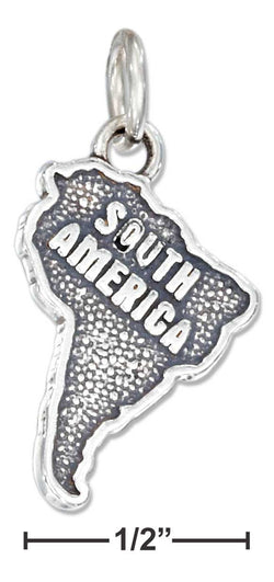 "Sterling Silver Antiqued ""South America"" Map Charm 