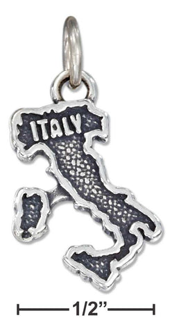 "Sterling Silver Antiqued ""Italy"" Map Charm 