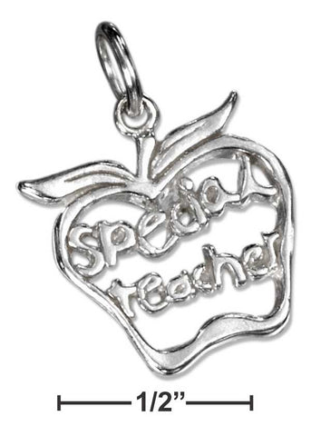 "Sterling Silver Apple With ""Special Teacher"" Charm 