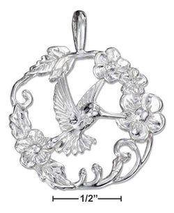 Sterling Silver Hummingbird Pendant In A Ring Of Flowers | Jewelry Store
