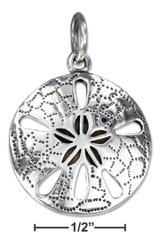 Sterling Silver High Polish Sand Dollar Charm With Antiqued Detail | Jewelry Store