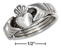 Sterling Silver Antiqued Heart In Hands Puzzle Ring | Jewelry Store