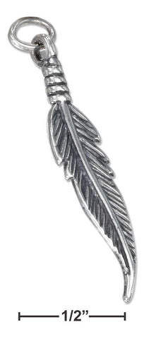 Sterling Silver Antiqued Feather Charm | Jewelry Store