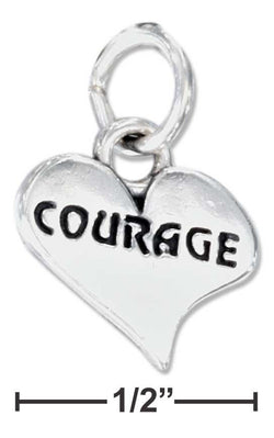 "Sterling Silver Heart With ""Courage"" Charm 