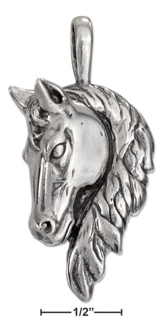 Sterling Silver Large Antiqued Horse Head Pendant With Long Mane | Jewelry Store