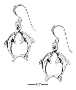 Sterling Silver Kissing Dolphin Earrings On French Wires | Jewelry Store