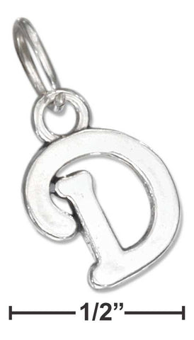 "Sterling Silver Scrolled Letter ""D"" Charm 
