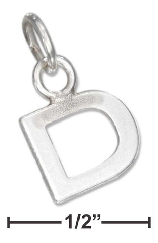 "Sterling Silver Fine Lined Letter ""D"" Charm 
