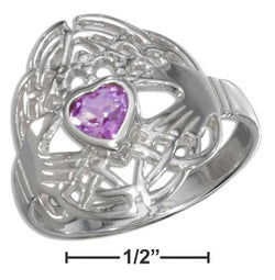 Sterling Silver Heart Shaped Amethyst Claddagh Ring | Jewelry Store