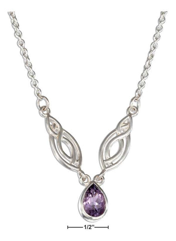 "Sterling Silver 15-18"" Adjustable Life Fish And Amethyst Teardrop Necklace 