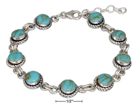 "Sterling Silver 7"" Round Simulated Turquoise Link Bracelet With Roped Border 