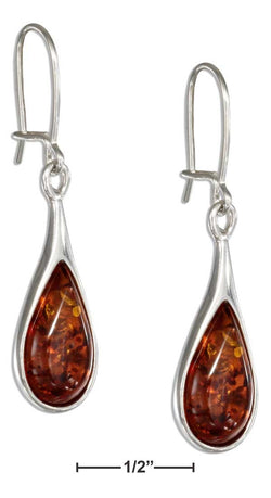 Sterling Silver Honey Amber Teardrop Earrings | Jewelry Store
