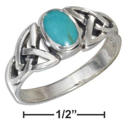 Sterling Silver Oval Simulated Turquoise Ring With Celtic Knots Shank | Jewelry Store