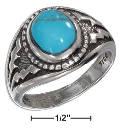 Sterling Silver Oval Reconstituted Turquoise With Wide Aztec Design Shank | Jewelry Store