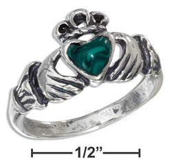 Sterling Silver Small Antiqued Claddagh Ring With Reconstituted Malachite Heart | Jewelry Store