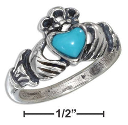 Sterling Silver Small Antiqued Claddagh Ring With Reconstituted Turquoise Heart | Jewelry Store