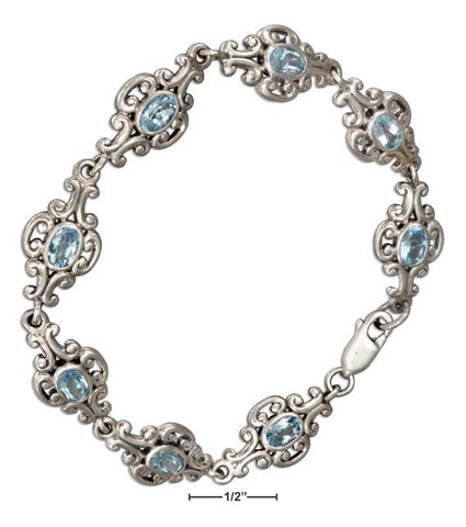 "Sterling Silver 7"" Continuous Scrolled Link Oval Blue Topaz Bracelet 