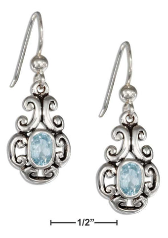 Sterling Silver Scrolled Design Oval Blue Topaz Earrings | Jewelry Store