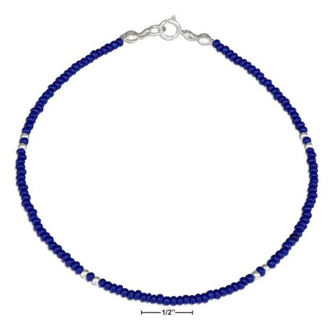 "Sterling Silver 9"" Dark Blue And Silver Beaded Anklet 