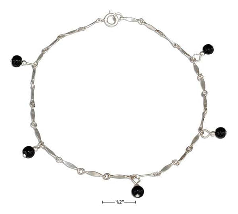 "Sterling Silver 9"" Onyx Bead Anklet 