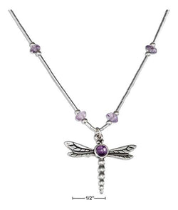 "Sterling Silver 16-18"" Adjustable Liquid Silver And Amethyst Dragonfly Necklace 