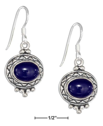 Sterling Silver Etched Border Oval Cabochon Lapis Earrings | Jewelry Store