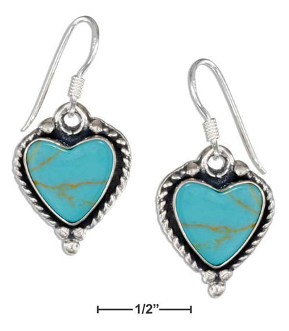 Sterling Silver Simulated Turquoise Heart Earrings With Roped Edges | Jewelry Store