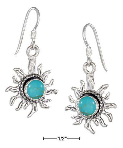 Sterling Silver Simulated Turquoise Sun Earrings On French Wires | Jewelry Store