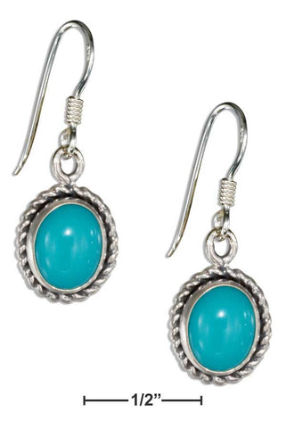 Sterling Silver Roped Edge Oval Simulated Turquoise Earrings With French Wires | Jewelry Store