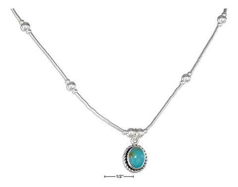 "Sterling Silver 16"" Roped Edge Oval Simulated Turquoise Pendant Necklace 