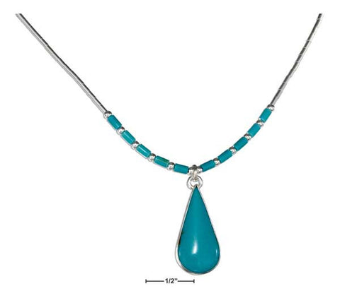 "Sterling Silver 16"" Simulated Turquoise Teardrop Necklace On Liquid Silver With Heishi 