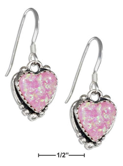 Sterling Silver Synthetic Pink Opal Heart Earrings On French Wires | Jewelry Store
