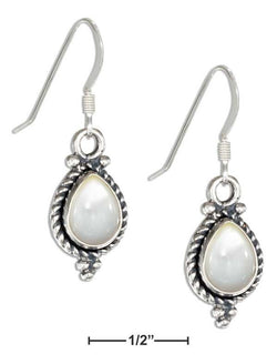 Sterling Silver Roped Teardrop Mother Of Pearl Earrings On French Wires | Jewelry Store