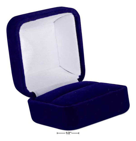 "Deluxe Blue Velvet Ring Box 1 7/8"" X 1.75"" X 1 3/8"" 