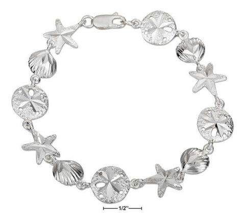 "Sterling Silver 7.5"" Linked Scallop Shell Sand Dollar And Starfish Bracelet 
