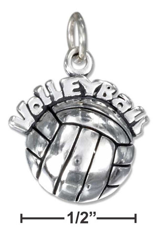 "Sterling Silver Antiqued ""Volleyball"" Charm On Top Of A Volleyball 