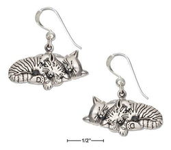 Sterling Silver Two Sleeping Kitty Cat Earrings On French Wires | Jewelry Store