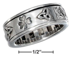 Sterling Silver Worry Ring With Irish Symbols Spinning Band | Jewelry Store