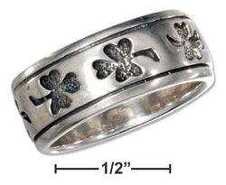 Sterling Silver Shamrock Band Ring With Antiqued Finish | Jewelry Store