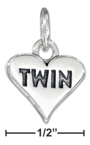 "Sterling Silver Heart With ""Twin"" Charm 