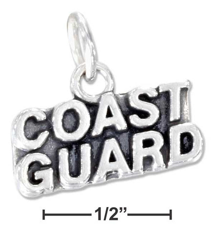 "Sterling Silver Antiqued ""Coast Guard"" Charm 