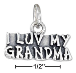 "Sterling Silver Antiqued ""I Luv My Grandma"" Charm 