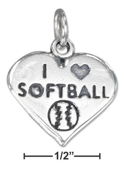 "Sterling Silver Heart With ""I Heart Softball"" Charm And Softball 
