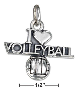 "Sterling Silver Antiqued ""I Heart Volleyball"" Charm With A Volleyball 